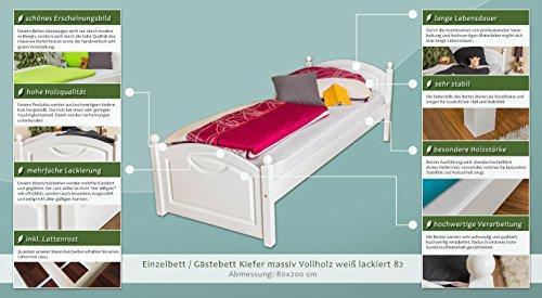 massivholzbett/invitados cama (Madera de pino maciza blanco lacado 82, incluye somier - Tamaño 80 x 200 cm: Amazon.es: Bricolaje y herramientas
