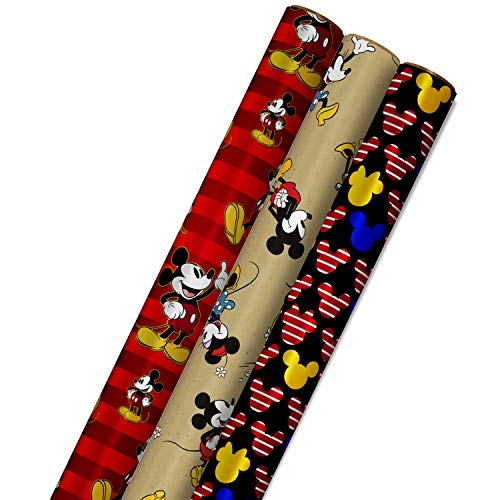 Hallmark Disney Mickey Mouse Wrapping Paper with Cut Lines on Reverse (3-Pack: 60 sq. ft. ttl) for Birthdays, Christmas…
