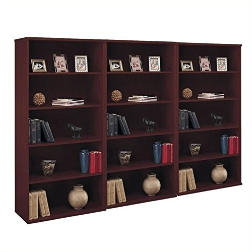 - Bush Business Series C 5 Shelf 3 Piece Wall Bookcase Set in Mahogany