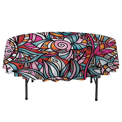 (Abstract Leakproof Polyester Round Tablecloth Colorful Florals Sunflower Mosaic Curl Ornaments Stained Glass Inspired Design Outdoor and Indoor use D40 Inch Multicolor)