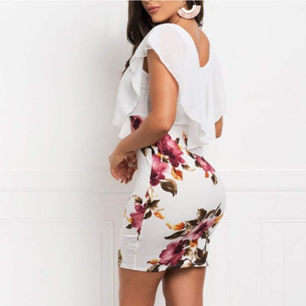 Ladies Sleeveless Floral Printed Dress High Waisted Round Neck Lace Mini Dress Milamy Women/'s Bodycon Dress