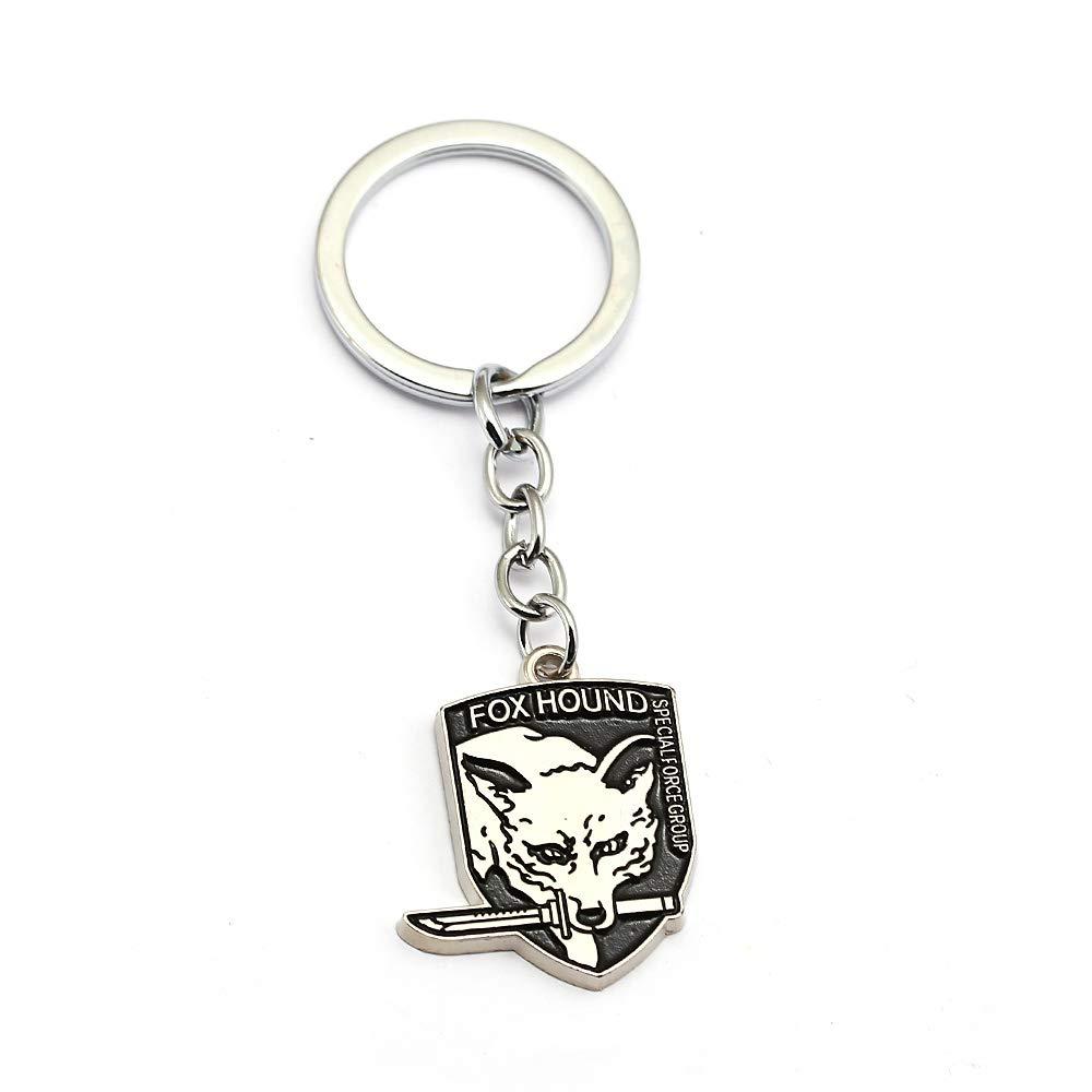 Mct12 - Metal gear solid 5 Keychains Fox hound outer heaven llaveros Fashion key chain skull animal game souvenir jewelry