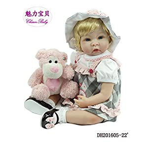 Charm Baby 22 Inch/50cm Soft Vinyl Silicone Head & Limbs, Soft Body Pink Reborn Baby Girl Realistic Looking Newborn Doll With A Pink Dog Toy
