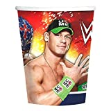 WWE Deluxe Party Supply Pack for 16 Guests featuring The Rock, John Cena, Rey Mysterio, and Daniel Bryan.