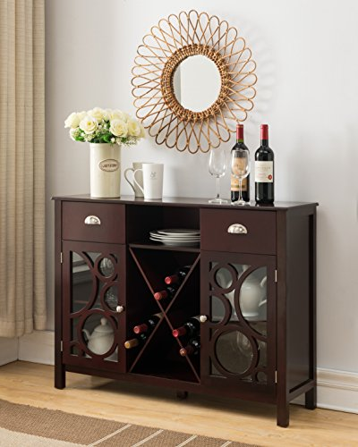 Dark Cherry Wood Wine Rack Sideboard Buffet Display Console Table With Storage Drawers, Glass Cabinet Doors & Shelf