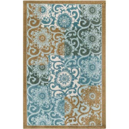 (Better Homes and Gardens Pretty Peony Spice Level Cut and Loop Printed Accent Rug with Skid Resistant Latex Backing)