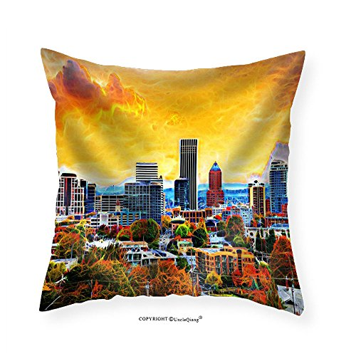 VROSELV Custom Cotton Linen Pillowcase Portland Oregon Downtown City During Sunset in the Fall Season Abtract Painting - Fabric Home Decor - Seattle Downtown Stores In