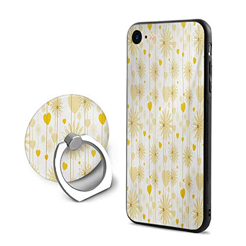 (Yellow iPhone 7/iPhone 8 Cases,Dreamy Floral Composition with Hearts Valentines Day Inspired Pattern Spring Earth Yellow Beige,Design Mobile Phone Shell Ring Bracket)