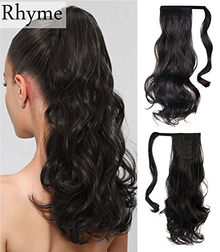Dark Brown Ponytail Clip in Hair Extensions Natural Long Cur