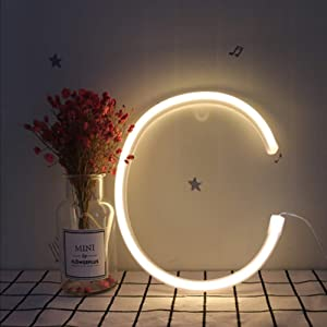 LED Letters Neon Light Sign Alphabet A-Z Marquee Word Sign Warm White Neon Words Lighting Girls Night Light Wall Hanging Decor for Christmas Birthday Wedding Party Bar Bedroom Party Accessories (C)