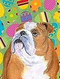 Caroline's Treasures SS4836CHF Bulldog English Easter Eggtravaganza Flag Canvas, Large, Multicolor For Sale