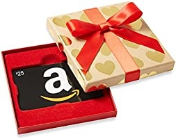 Amazon.com $25 Gift Card in a Gold Hearts Box (Classic Black Card Design)