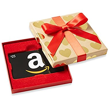 Amazon.com $25 Gift Card in a Gold Hearts Box (Classic Black Card Design)