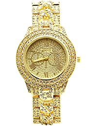 Studded with Diamonds Alloy Geneva Geneva Watch Unisex Luxury Shiny Watches (Gold)