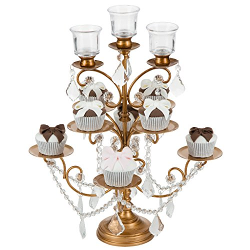 'Madeleine Collection' 8 Piece Cupcake Stand with 3 Glass Votive Candle Holders, Crystal Dangles (Gold)