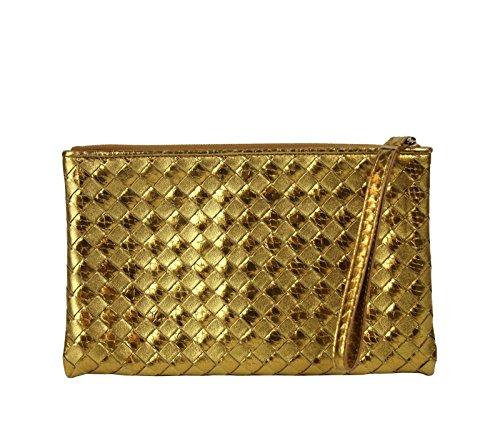 Bottega Veneta Woven Wristlet Gold Python/Leather Clutch Bag 325420 7714