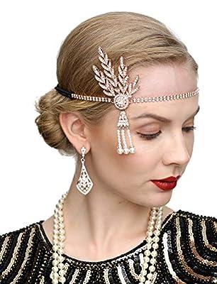 Art Deco 1920s Flapper Great Gatsby Leaf Wedding Bridal Tiara Pearl Headpiece Headband