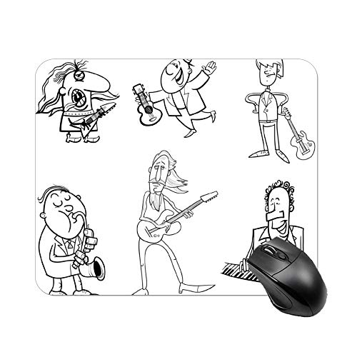 FGN Mouse Pad Musicians Cartoon Coloring Page Mousepad Non-Slip Rubber Gaming Mouse Pad Rectangle Mouse Pads for Computers Laptop