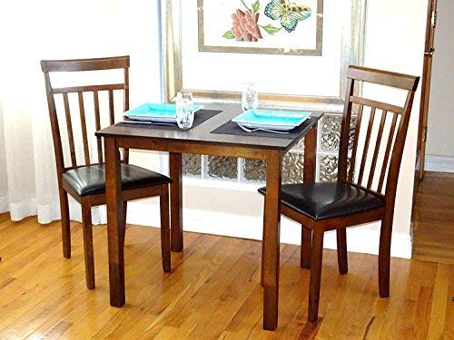 (Rattan Wicker Furniture 3 Pc Dining Kitchen Set of Square Table and 2 Classic Solid Wooden Chairs Warm in Dark Walnut Finish)