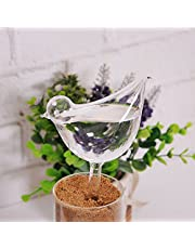 Blesiya Glass Plant Flowers Water Feeders Self Watering Bird Design Plant Waterers