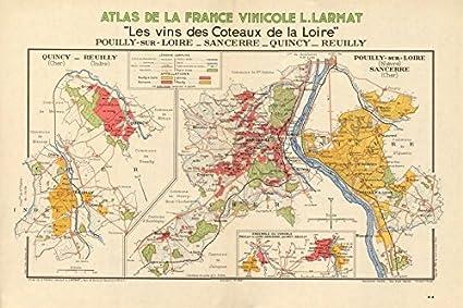 Sancerre France Map.Amazon Com Loire Wine Map Pouilly Fume Sancerre Quincy Reuilly