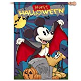 Retro Disney Mickey Mouse And Pluto Happy Halloween Flag by The Hamilton Collection