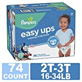 Pampers Easy Ups Training Pants Pull On Disposable Diapers Boys Underwear, Size 4 2T-3T, 74 Count, Super Pack: more info