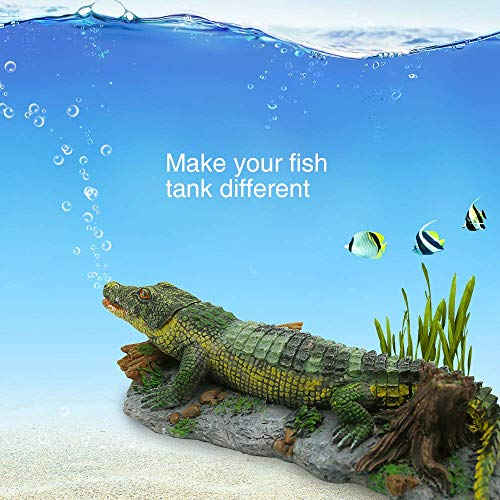 boxtech Aquarium Decoration - Aerating Action Ornament - Aquarium Fish Tank Crocodile Bubbler Decoration