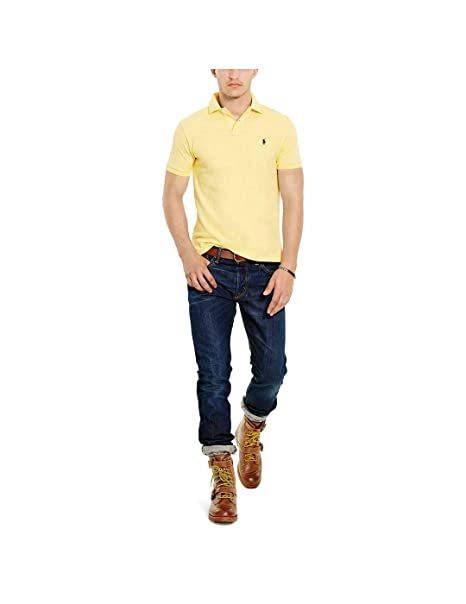 Polo Polo Ralph Lauren Custom Slim Amarillo Hombre: Amazon.es ...