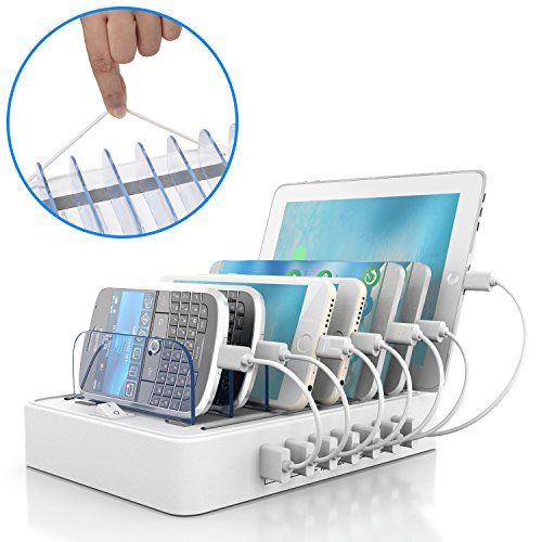 IMLEZON Charging Station 7-Port USB Charging Station for Multiple Devices (White, not Included Cables) -