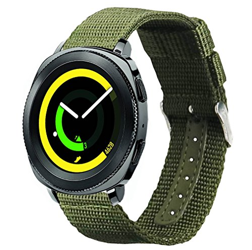 Vivoactive 3 Bands, Olytop 20mm Nylon Canvas Fabric Replacement Sport Wristband for Samsung Gear Sport/Garmin vivoactive3 / Ticwatch E & Ticwatch 2 Smartwatch(Army Green, 20mm)
