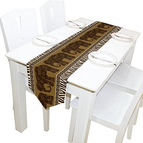 ALAZA Table Runner Home Decor, African Elephants and Zebra Look Table Cloth Runner Coffee Mat for Wedding Party Banquet Decoration 13 x 70 inches