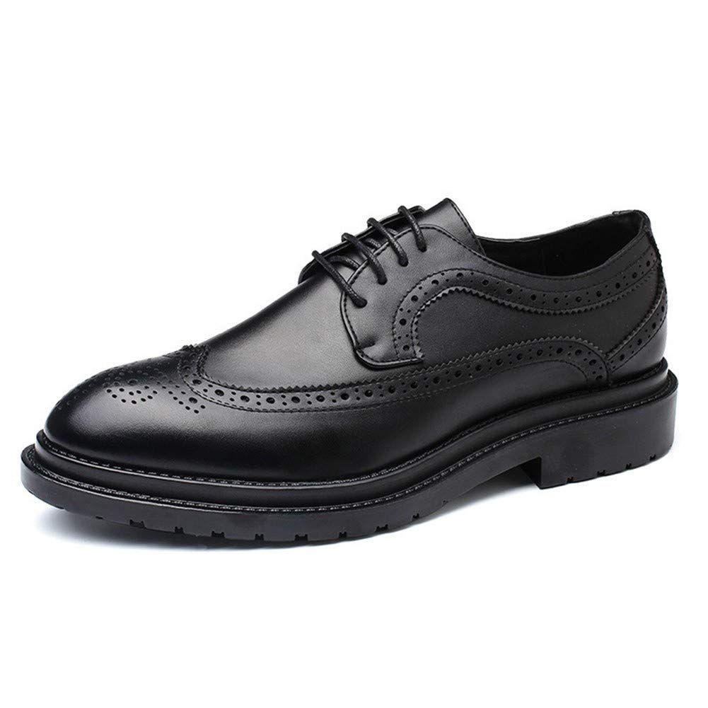 Fashion Wild Leather Anti-Slip Pointed Toe Burnished Style Stitch Low Heel Rubber Sole Retro Brogue Oxford for Men Dress Shoes Lace up Microfiber Super Cost-Effective (Color : Black, Size : 9 M US) by KELITA-SHOES