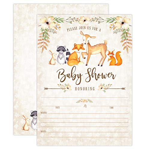 Woodland Baby Shower Invitations, Fox Baby Shower Invitations, Boy Baby Shower Invitations, Deer Baby Shower Invitations, Little Fox Invitations, 20 Fill in Invitations and Envelopes - All Star Football Invitations