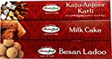HIMALYA FRESH Authentic Indian Food Value Pack of 3 (1 box of Milk Cake, 14 oz - 1 box Kaju Anjeer Katli, 12 oz - 1 box Besan Ladoo, 12 oz) Indian Sweets With No Fillers Or Preservatives