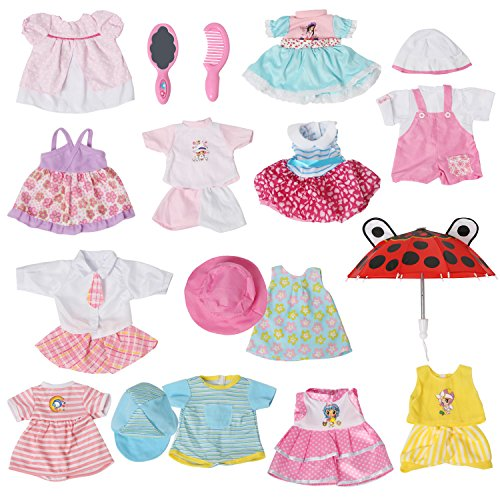 3y Baby Clothing (Set of 12 Handmade Baby Doll Clothes Dress Outfits Costumes For 14-16 Inch Dolly Pretty Doll Cloth Hat Cap Umbrella Mirror Comb Girl Christmas Birthday Gift)