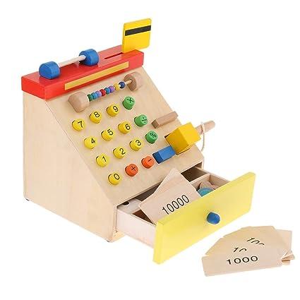 Homyl Caja Registradora De Madera Juguete Supermercado Cajero Juegos De Imaginación Juegos Educativos