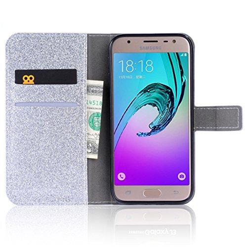 Samsung Galaxy J5 (2017) J530 (European Version) Funda, CaseFirst Flip Billetera Cover Protección Soporte Anti-arañazos Protector a prueba de golpes Shell con función de soporte y ranuras (Púrpura) Plata