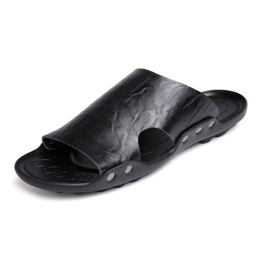Zapatillas de Hombre de Cuero Genuino Zapatillas de Playa Sandalias Ocasionales Trabajo Hecho a Mano Antideslizantes Zapatos Planos Suaves SIN Pegamento 39 EU|Black