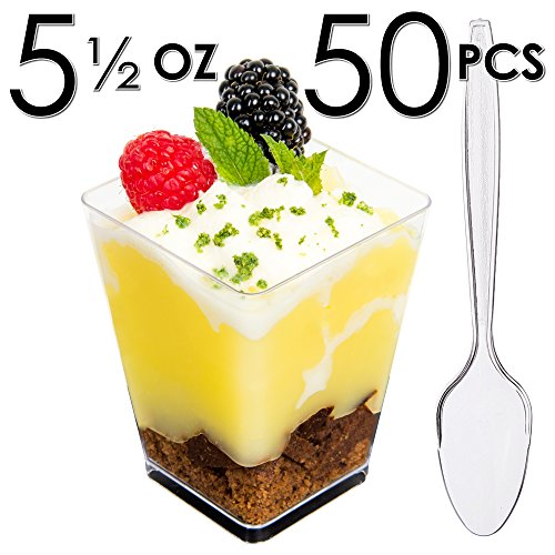 DLux Mini Dessert Cups, Appetizer Bowls & Mini Spoons with Recipe e-Book [Clear Plastic, 5 oz, Square Large, 50 Count] Small Catering Supplies, Disposable Parfait Tasting Shooters Tumblers Disposable Catering Supplies