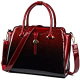 Yojoy Womens Patent Leather Satchel Handbags (Red)