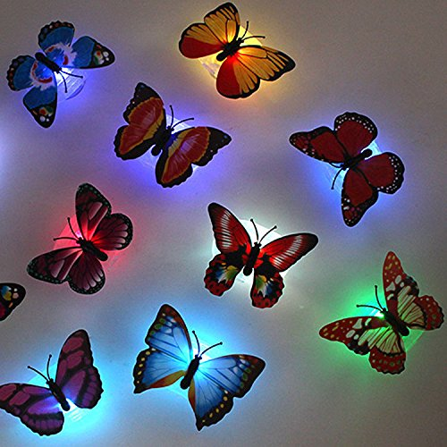 Emazon® Firefly 10 pack Romantic Magic Colorful Butterfly Decorative Light/Sucker LED Colorful Butterfly Night Light-10PCS