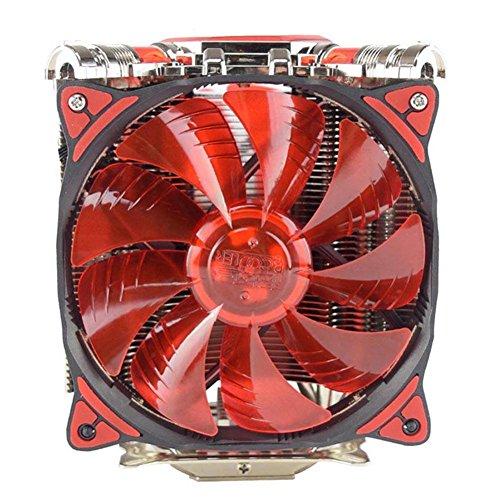 CPU Dual Cooler Fan 5xHeatpipes LED Rifle Bearing Temperature Monitor Mute Cooling Fan Heatsink Radiator