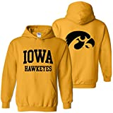 AH46 - Iowa Hawkeyes Front and Back Print Hoodie - Small - Gold