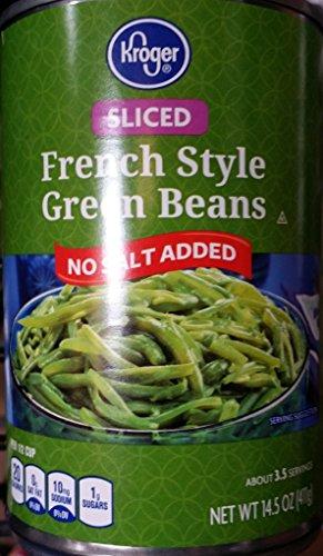 Kroger Sliced French Style Green Beans, No Salt Added 14.25 Oz (Pack of 6) (Beans Green Sliced)