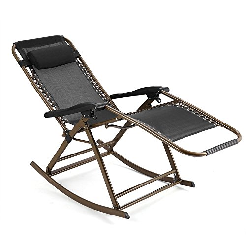 Us Reclining Rocking Chair ((US Stock)Outdoor Zero Gravity Folding Lounge Patio Folding Reclining Chair,Portable Rocking Reclining Chair with Adjustable Pillow for Indoor Patio Garden Lawn Home (Black))