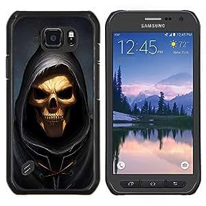 Qstar Arte & diseño plástico duro Fundas Cover Cubre Hard Case Cover para Samsung Galaxy S6Active Active G890A (Cráneo Parca)