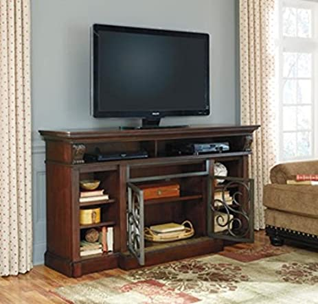 Bon Ashley Furniture Signature Design   Alymere TV Stand   Fireplace Option    Traditional   Rustic Brown