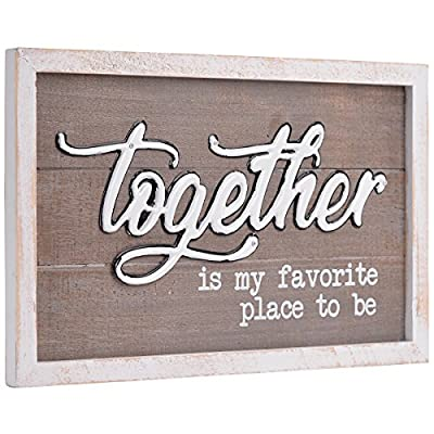 NIKKY HOME Together Is My Favorite Place To Be Vintage Wooden Framed Decorative Wall Sign 15.94 x 0.83 x 10.04 Inches