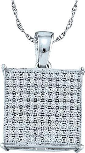 - Aienid 10Kt White Gold 0.30ct Diamond Pendant Necklace For Ladies